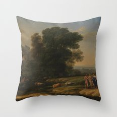 Landscape with Cephalus and Procris reunited by Diana - Claude Throw Pillow