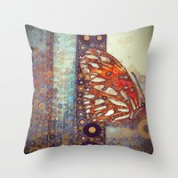 Golden Butterfly Throw Pillow