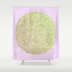Detailed circle, gold rose Shower Curtain