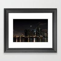 Moonlit Chicago Skyline Framed Art Print
