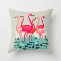 Flamingos By Andrea Laur… Throw Pillow