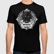 Mononoke Hime Wolf Pride Letterpress Line Work Black Mens Fitted Tee SMALL