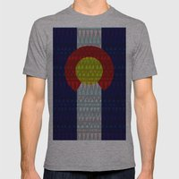 Colorado Flag/Geometric Mens Fitted Tee Athletic Grey SMALL