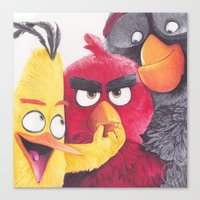 Angry Birdpoint Pen Drawing  Canvas Print