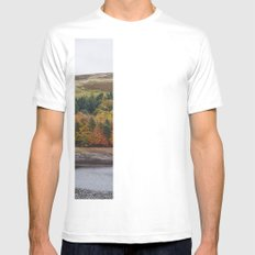 Autumnal trees at Derwent Reservoir. Derbyshire, UK. White Mens Fitted Tee SMALL