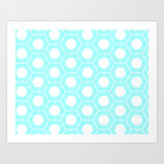 Nieuwland Powder Blue Hexagons Pattern Art Print