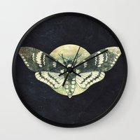 Moth And Moon Wall Clock