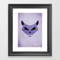 Purple Funny Evil Cat Skull Framed Art Print