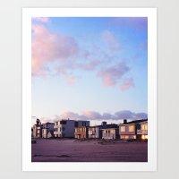 Midcentury Style Homes along the Beach, Sunset Beach, California Art Print