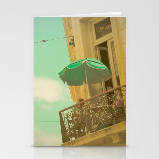 Vintage Turquoise Summer Umbrella (Retro and Vintage Urban Photography)  Stationery Card