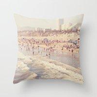 Sunny California. Santa Monica beach photograph Throw Pillow