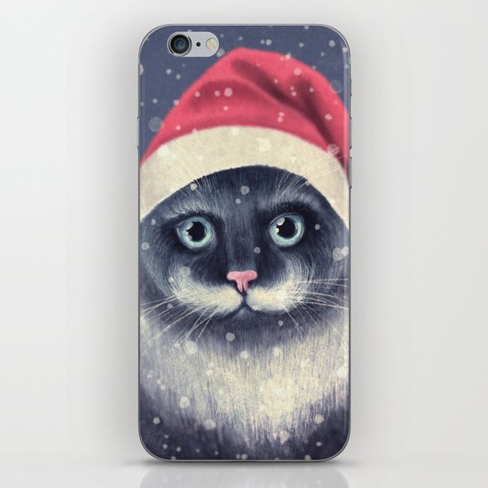 Christmas cat with a mustache iPhone & iPod Skin