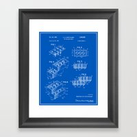 Lego Building Brick Patent - Blueprint Framed Art Print