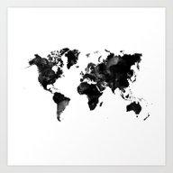 Black Watercolor World M… Art Print