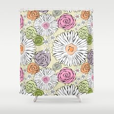 Pastel color freehand sunflowers and roses Shower Curtain
