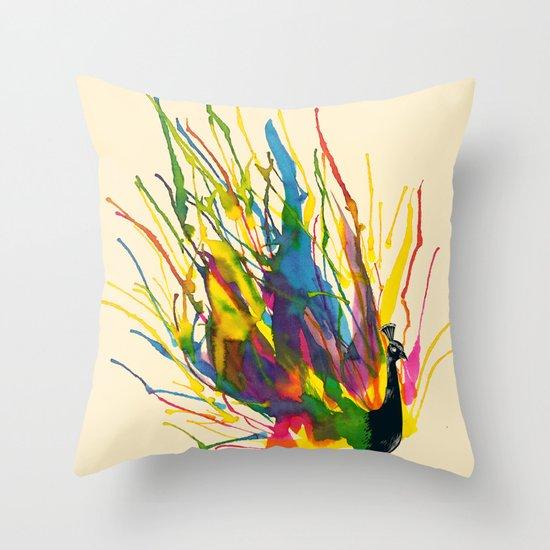 Colorful Peacock Throw Pillow
