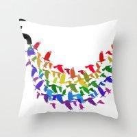 Birds Rain Throw Pillow