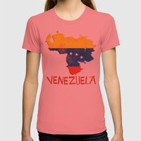 Venezuela Vintage Map Womens Fitted Tee Pomegranate SMALL