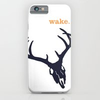 iPhone & iPod Case featuring WAKE - SKULL (WHITE) by blip
