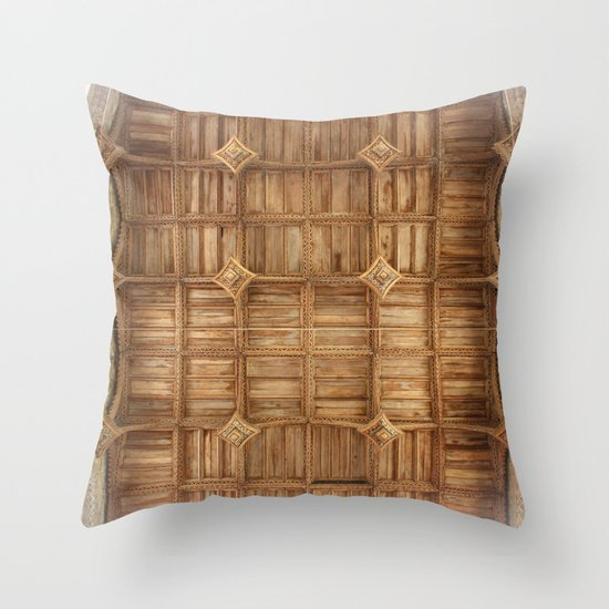Wooden church ceiling  Throw Pillow