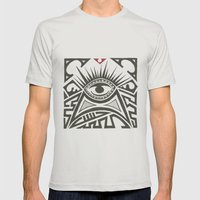 All seeing eye Mens Fitted Tee Silver SMALL