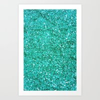 TEAL GLITTER  Art Print