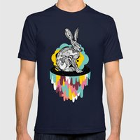 Space Rabbit Mens Fitted Tee Navy SMALL