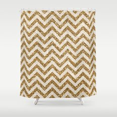 Sparkling glitter chevron pattern - coffee I Shower Curtain