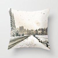 Yosemite Snowy Meadow Throw Pillow