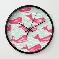 Whales In Waves Wall Clock