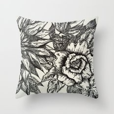 FREE HAND FLOWERS Throw Pillow