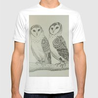 Owls Mens Fitted Tee White SMALL