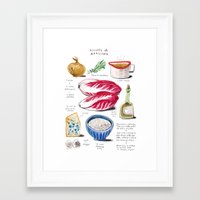 illustrated recipes: risotto al radicchio Framed Art Print