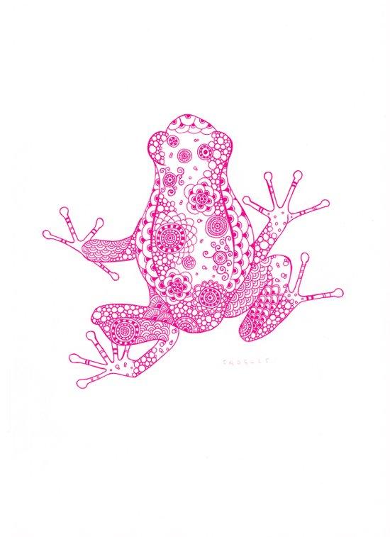 Little Frog Magenta Art Print