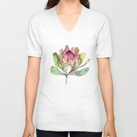 V-neck T-shirt featuring Protea Flower by Goosi