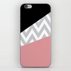 Coral & Black Chevron Block iPhone & iPod Skin