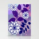 White Flowers on Navy Leaves Stationery Cards