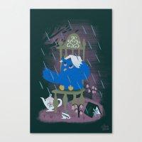 Rain At Owl's Tea Party Canvas Print