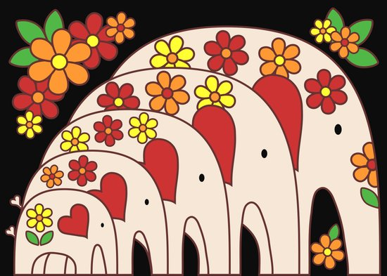 Matrioshka Elephants (large) Art Print