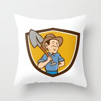 Farmer Shovel Shoulder Crest Cartoon Throw Pillow