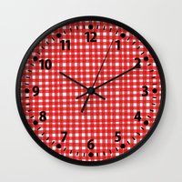 Red Gingham Wall Clock
