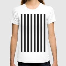 Black & White Stripes (vertical)  Womens Fitted Tee White SMALL