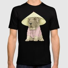 Shar Pei on the Great Wall (China) Black Mens Fitted Tee SMALL