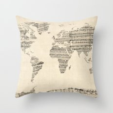 Old Sheet Music World Ma… Throw Pillow