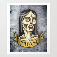 'Mom' Zombie Tattoo print Art Print