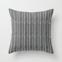 Herringbone Black Invers… Throw Pillow