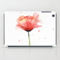 Red Poppy Watercolor   Floral Illustration iPad Case
