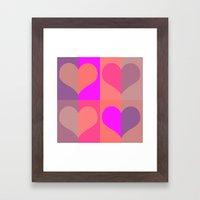 70's hearts Framed Art Print