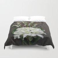 White Flowers On Rustic … Duvet Cover