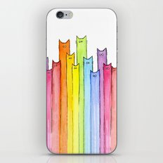Cat Rainbow Watercolor Pattern iPhone & iPod Skin
